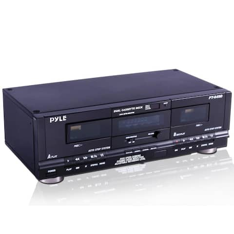 Pyle Dual Cassette Deck with Record Ability With Dual Color Multi function Fluorescent Display