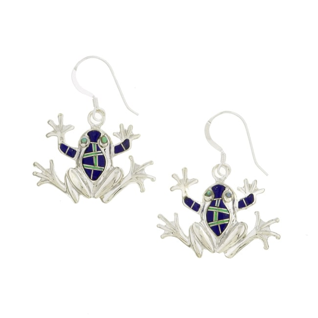 Sterling Silver Lapis and Opal Frog Earrings