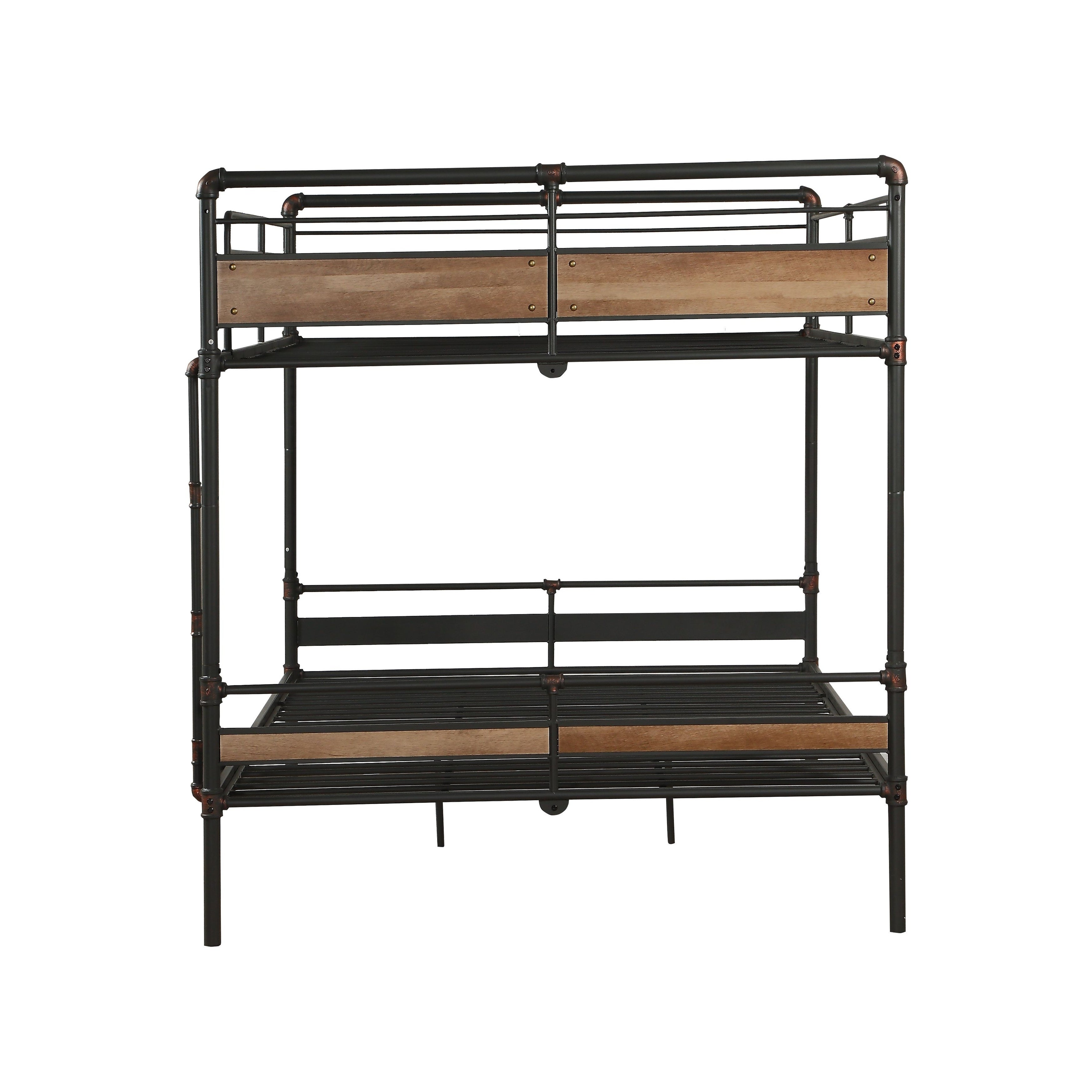 Picture of: Queen Over Queen Size Metal Bunk Bed With Ladder Black And Brown Overstock 29714433
