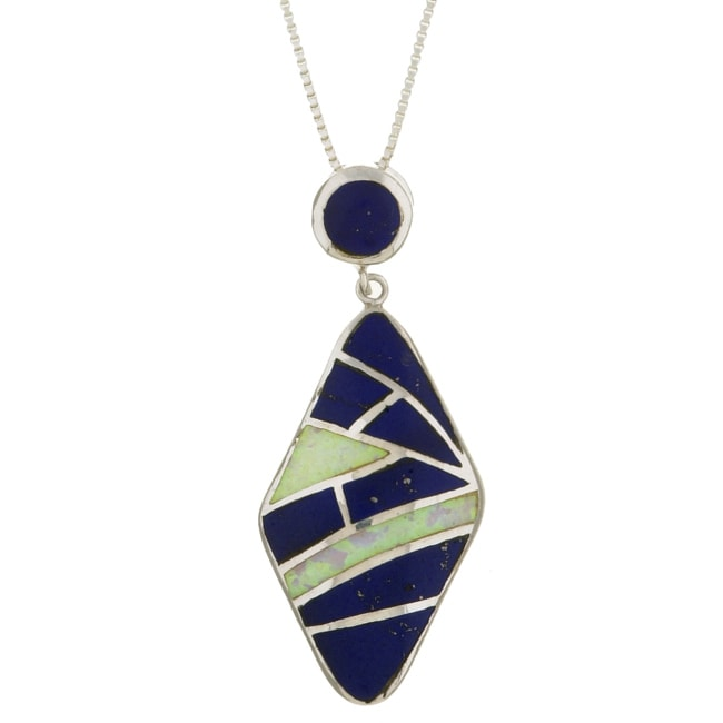 Sterling Silver Opal and Lapis Necklace