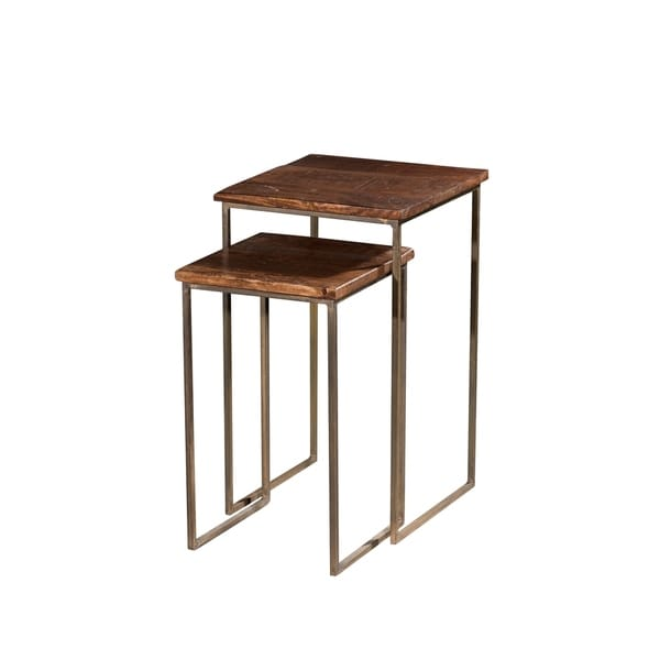 Wooden Iron Square Nesting Table