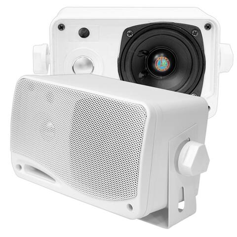 Pyle 3 Way Weatherproof Outdoor Mini Box Speaker System With Dual Color Multi function Fluorescent Display 200 Watt (White)