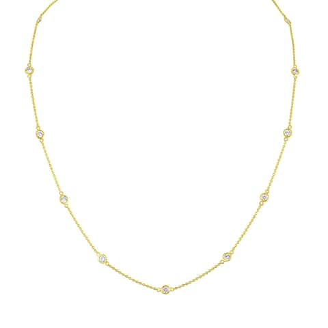 14K Yellow Gold 1 1/10 ct TDW Diamond Station Necklace (H-I,VS2-SI1)