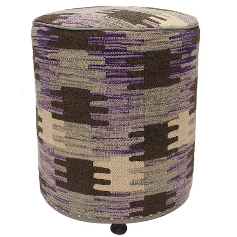 Tereasa Purple/Brown Kilim Upholstered Handmade Ottoman