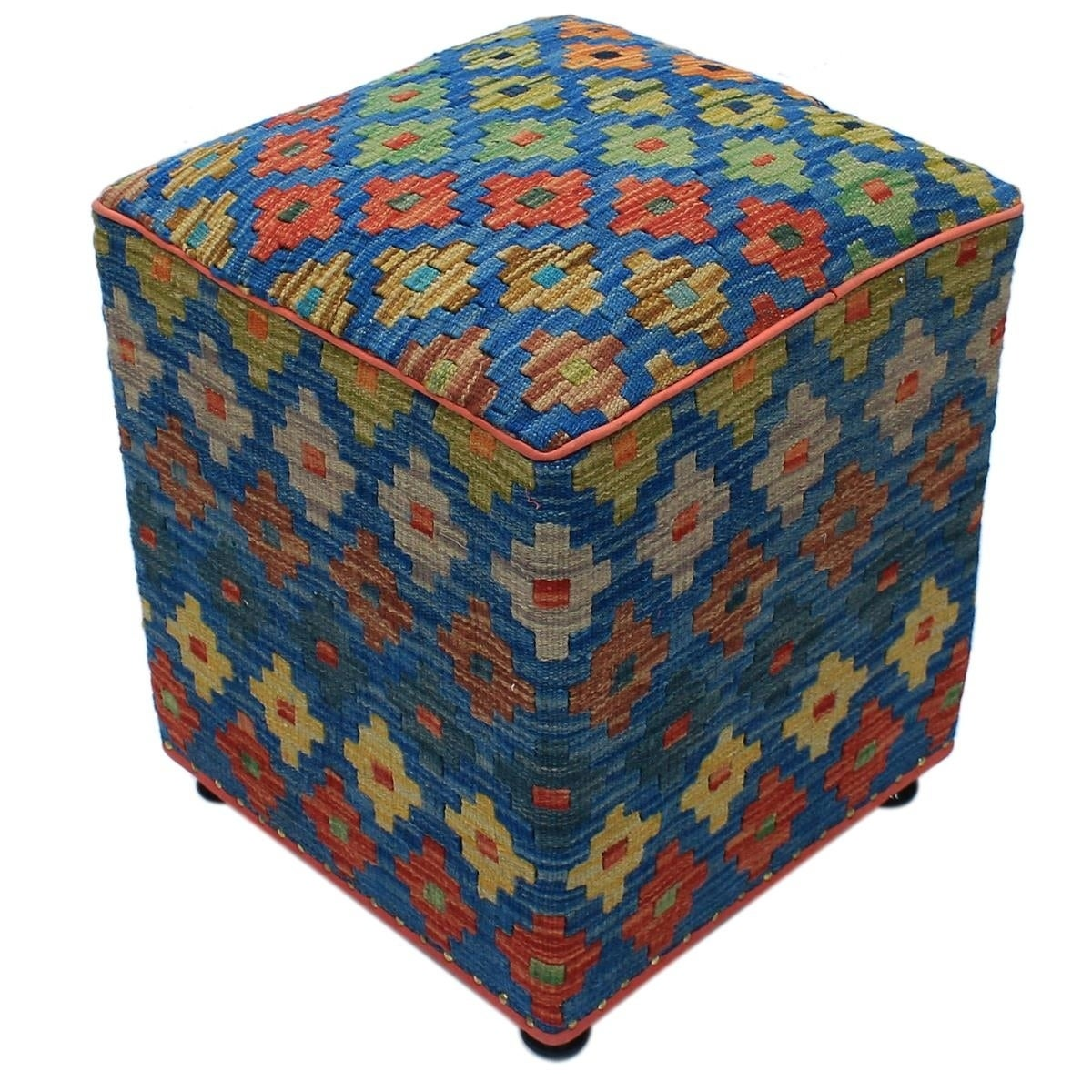 Waltraud Blue Green Kilim Upholstered Handmade Ottoman Overstock 29715724