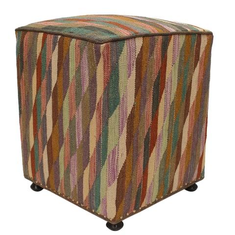 Devora Beige/Black Kilim Upholstered Handmade Ottoman