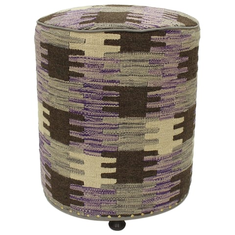 Catarina Purple/Brown Kilim Upholstered Handmade Ottoman