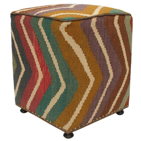 Amberly Purple/Brown Kilim Upholstered Handmade Ottoman