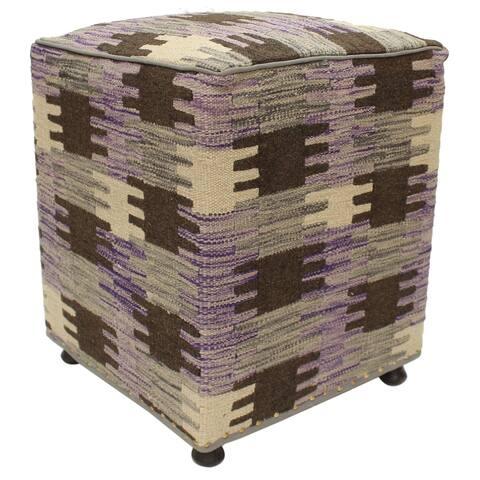 Divina Purple/Beige Kilim Upholstered Handmade Ottoman