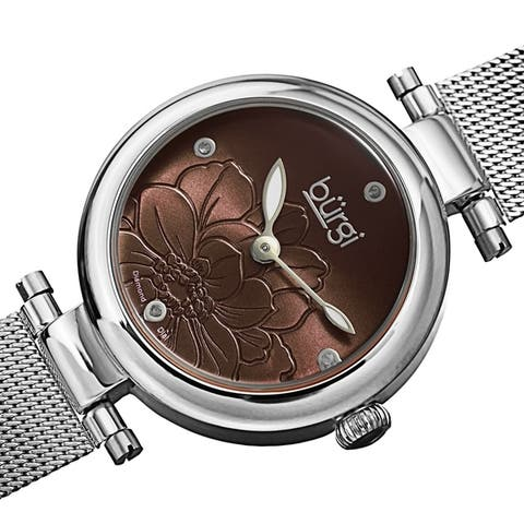 Burgi Women's Quartz Etched Floral Dial Stainless Steel Mesh Band Watch