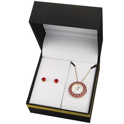 Burgi Women's Quartz Swarovski Multicolor Crystal Pendant Watch and Earring Set