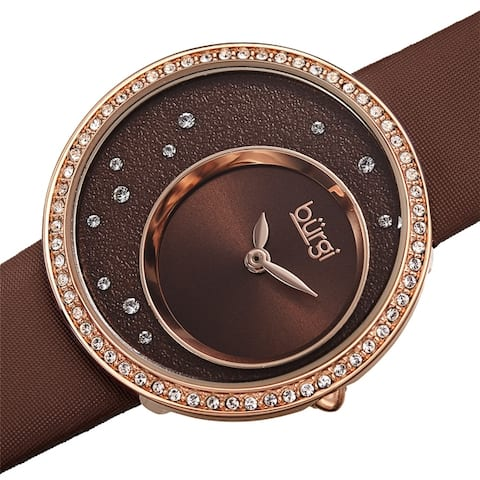 Burgi Women's Quartz Swarovski Inner Dial Satin Leather Strap Watch