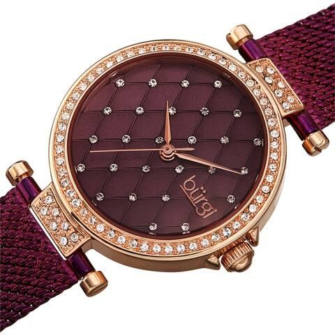 Burgi Women's Quartz Swarovski Quilted Dial Steel Mesh Bracelet Watch