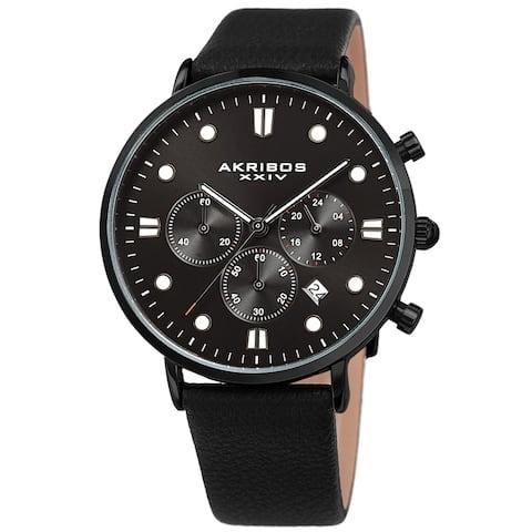 Akribos XXIV Men's Chronograph Quartz on Genuine Leather Strap Watch