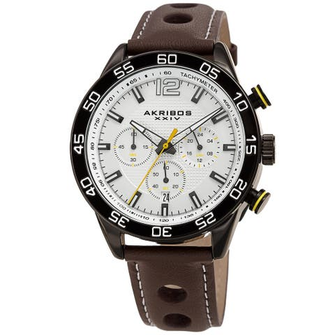 Akribos XXIV Men's Quartz Chronograph Perforated Leather Strap Watch
