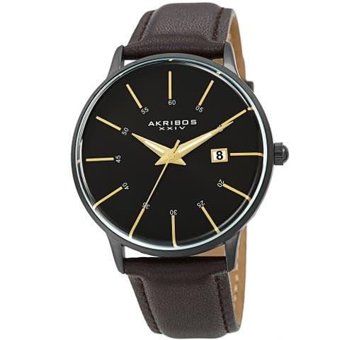 Akribos XXIV Men's Quartz Date Interchangable Leather Strap Watch