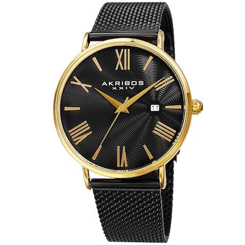 Akribos XXIV Men's Quartz Embossed Dial Stainless Steel Bracelet Watch