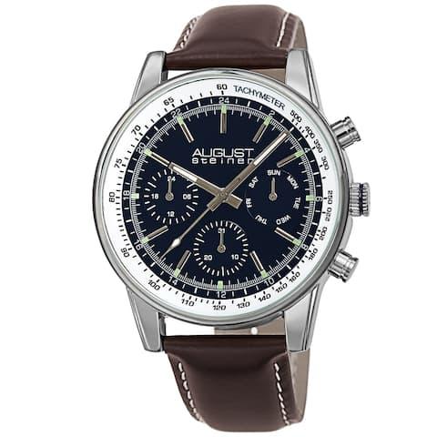 August Steiner Men's Quartz Chronograph Day Date 24hr Leather Strap Watch