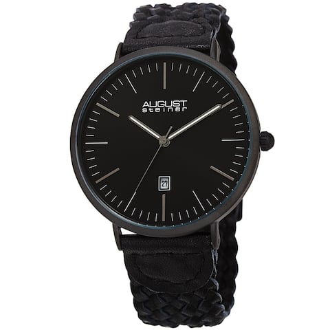 August Steiner Men's Quartz Date Braided Leather Strap Watch
