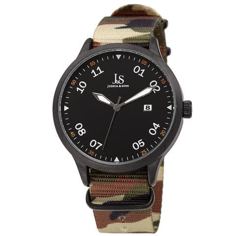 Joshua & Sons Men's Quartz Date Camouflage Strap Watch