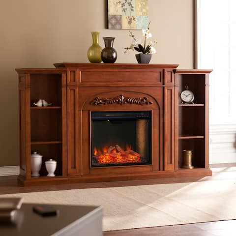 Gracewood Hollow Chantal Brown Alexa Enabled Fireplace with Bookcases