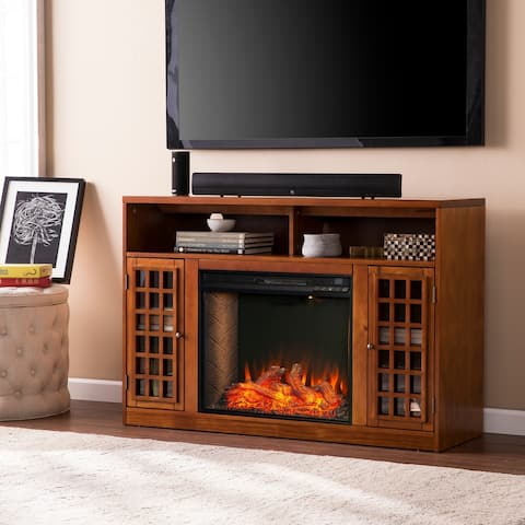 Copper Grove Nylah Brown Alexa Enabled Media Fireplace with Storage