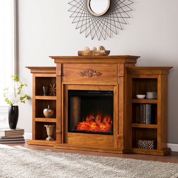 Copper Grove Talini Brown Alexa Enabled Fireplace with Bookcases