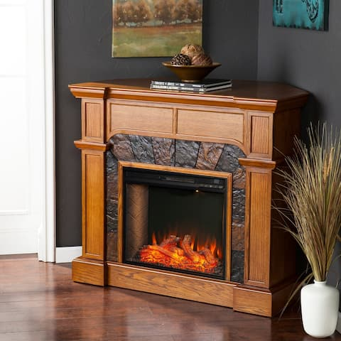 Copper Grove Cabato Transitional Brown Alexa Enabled Fireplace with Faux Stone - N/A
