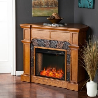 Copper Grove Cabato Transitional Brown Alexa Enabled Fireplace with Faux Stone