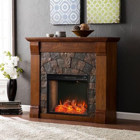 Copper Grove Erickson Modern Farmhouse Brown Alexa Enabled Fireplace - N/A