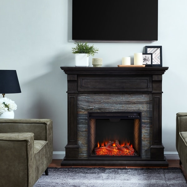 Copper Grove Jaston Traditional Brown Alexa Enabled Media Fireplace