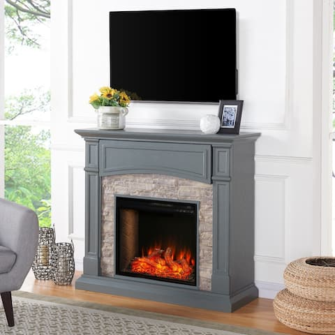 The Gray Barn Stella Transitional Gray Wood Alexa Enabled Fireplace