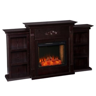 Gracewood Hollow Talynn Espresso Alexa Enabled Fireplace with Bookcases