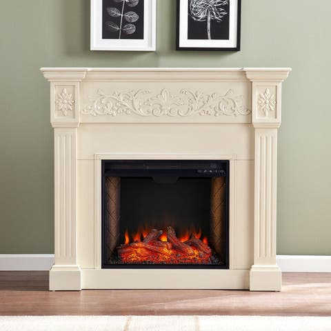 Copper Grove Cresington Traditional Brown Alexa Enabled Fireplace