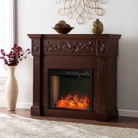 Copper Grove Cresington Traditional Brown Alexa Enabled Fireplace - N/A