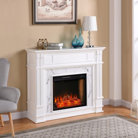 Silver Orchid Hedwige Transitional White Wood Alexa Enabled Fireplace