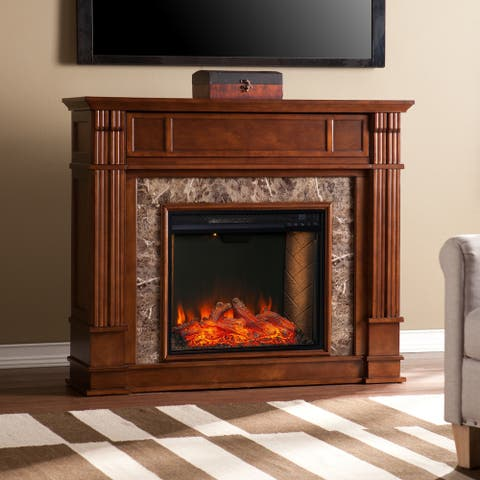 Copper Grove Hadler Transitional Brown Wood Alexa Enabled Fireplace