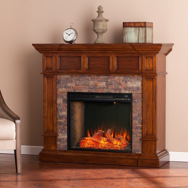 Shop Copper Grove Morine Brown Alexa Enabled Fireplace