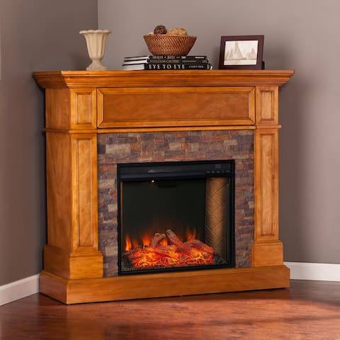 Copper Grove Rosemeade Traditional Brown Wood Alexa Enabled Fireplace - N/A