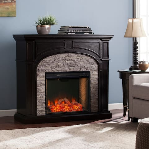 Copper Grove Thea Transitional Black Wood Alexa Enabled Fireplace