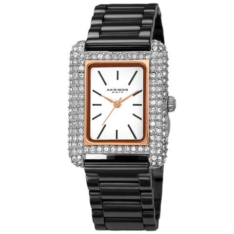 Akribos XXIV Women's Quartz Rectangle Swarovski Crystal Stainless Steel Link Bracelet Watch