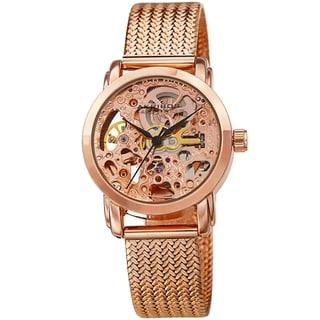 Akribos XXIV Women's Automatic Skeleton See Thru Dial Stainless Steel Mesh Bracelet Watch