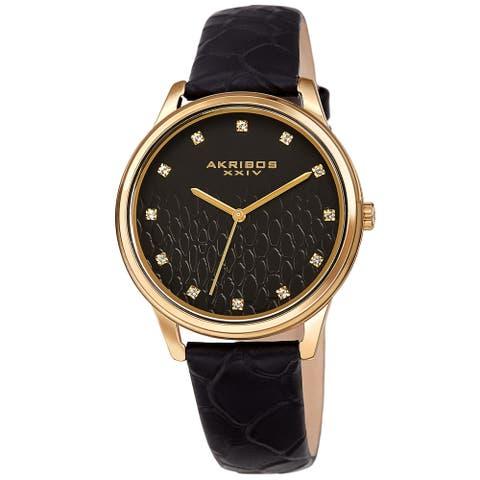 Akribos XXIV Women's Quartz Swarovski Crystal Python Embossed Genuine Leather Strap Watch