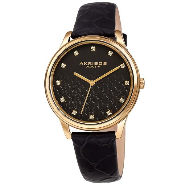 Akribos XXIV Women's Quartz Swarovski Crystal Python Embossed Genuine Leather Strap Watch. Opens flyout.