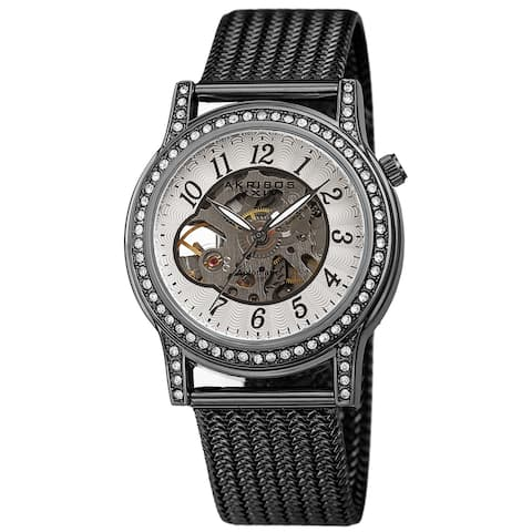 Akribos XXIV Women's Cut Out Skeleton Stainless Steel Mesh Bracelet Watch