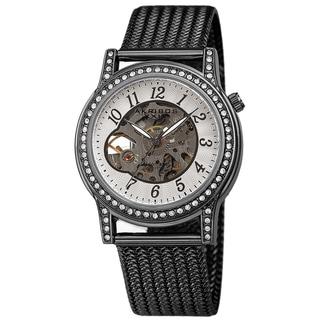 Akribos XXIV Women's Cut Out Skeleton Stainless Steel Mesh Bracelet Watch
