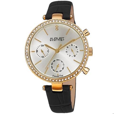August Steiner Women's Quartz Day Week Month Crocodile Embossed Leather Strap Watch