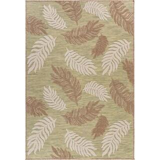 """Tropical Leaf Botanical Indoor/Outdoor Rug - 7'9"""" x 9'9"""""""