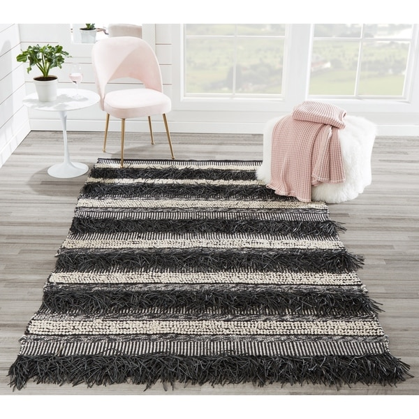 Momeni Otto Hand Woven Striped Black Indoor Outdoor Rug