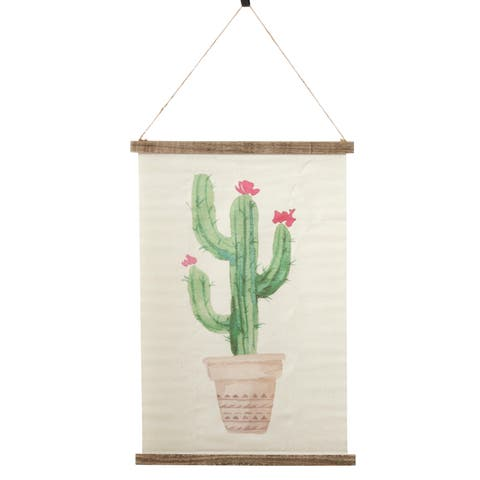 Wall Hanging With Potted Cactus Design